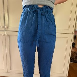 H&M blue high waisted paper bag pants